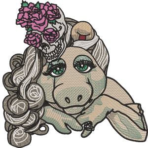 Piggy With Skull Embroidery Design