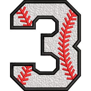 Three Number Embroidery Design