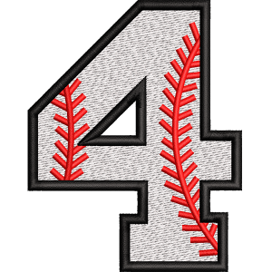 Four Number Embroidery Design