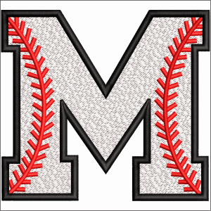M Letter Embroidery Design