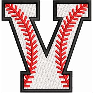 V Letter Embroidery Design