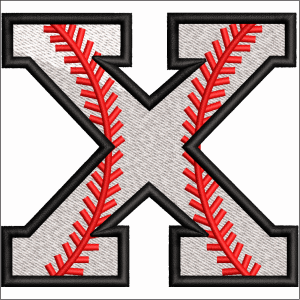 X Letter Embroidery Design