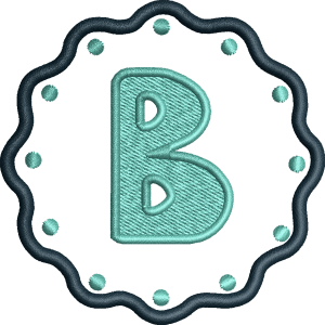 B Letter Embroidery Design