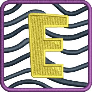 E Letter Embroidery Design