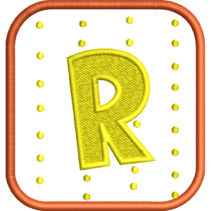 R Letter Embroidery Design