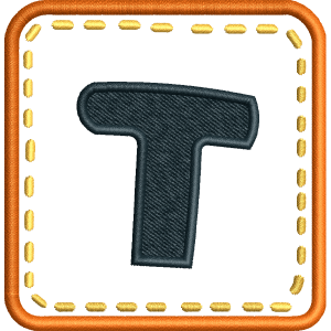 T Letter Embroidery Design
