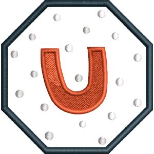 U Letter Embroidery Design