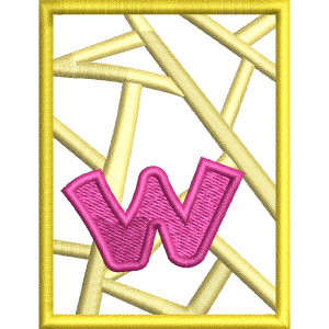 W Letter Embroidery Design